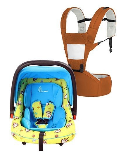 R for Rabbit Upsy Daisy Smart Hip Seat Baby Carrier - Brown Cream AND R for Rabbit Picaboo Infant Car Seat cum Carry Cot - Blue Yellow