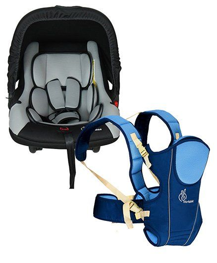 R for Rabbit Chubby Cheeks 3 Way Baby Carrier - Blue AND R for Rabbit Picaboo Infant Car Seat Cum Carry Cot - Black And Grey
