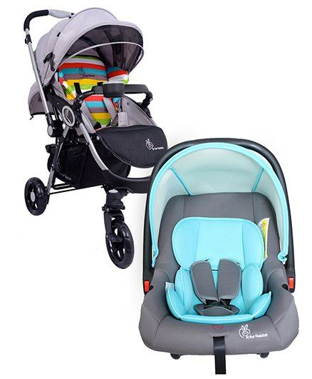 R for Rabbit Chocolate Ride The Designer Pram Rainbow AND R for Rabbit Picaboo Rear Facing Infant Car Seat Cum Carry Cot - Grey And Blue