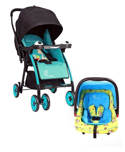 R for Rabbit Poppins An Ideal Pram For Moms - Blue & Black AND R for Rabbit Picaboo Infant Car Seat cum Carry Cot - Blue Yellow