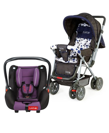 LuvLap Baby Stroller Pram Sunshine  Navy Blue Infant Baby Car Seat Cum Carry Cot  Purple