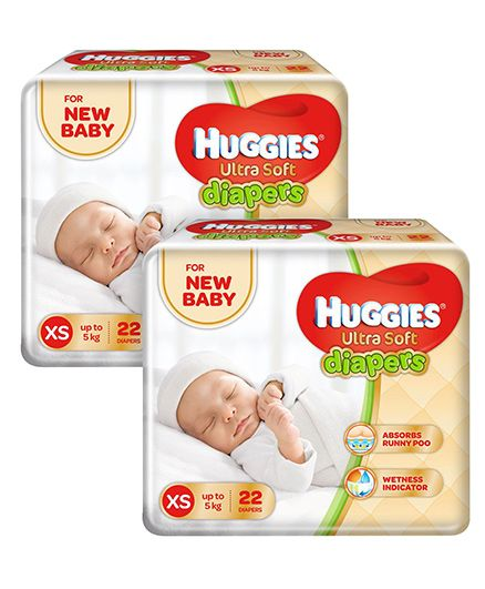 Huggies Ultra Soft Premium Diapers For New Baby- 22 Pieces Pack Of 2
