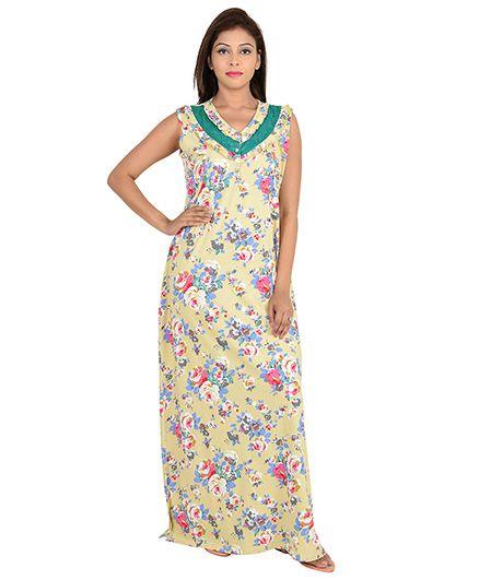 9teenAGAIN Sleeveless Maternity Nursing Nighty Floral Print Green Yellow  Online in India 9cb5a0063