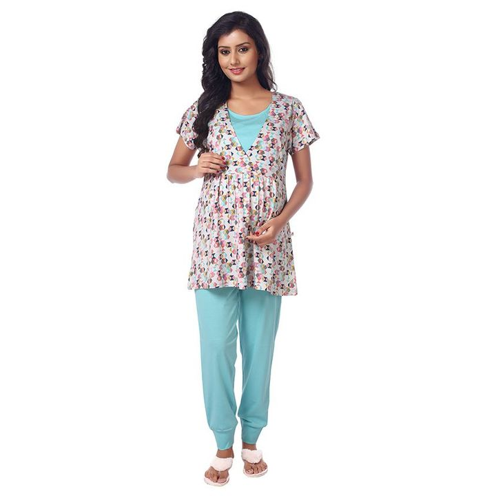 b654c8eb84 Kriti Nursing Wear Top   Bottom Night Set Blue   White Online in India