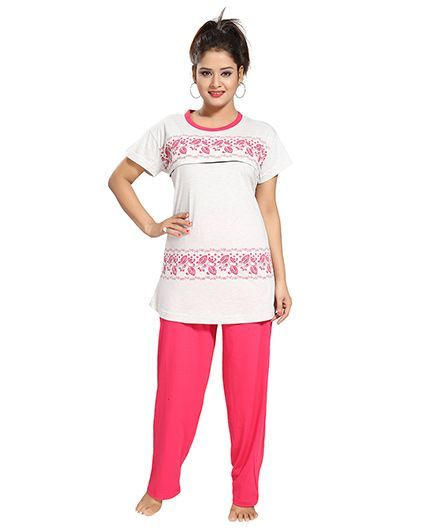 a1c6b5283b Fabme Maternity Nursing Feeding Night Suit White Online in India ...
