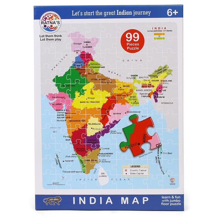 India Map Puzzle.Ratnas India Map Jigsaw Pack Of 99 Multicolour Online India Buy