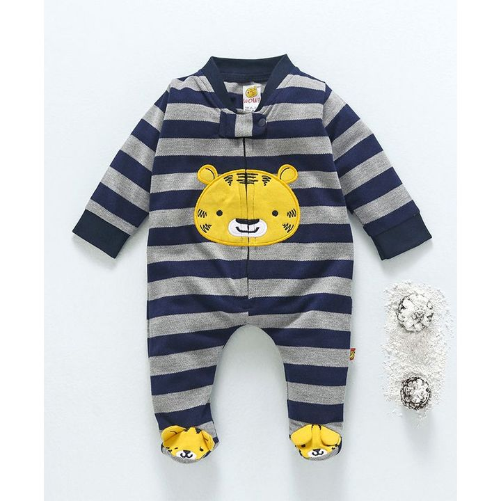 fb72e9cd8 Wow Clothes Full Sleeves Striped Footed Romper Animal Patch - Melange Grey  +info