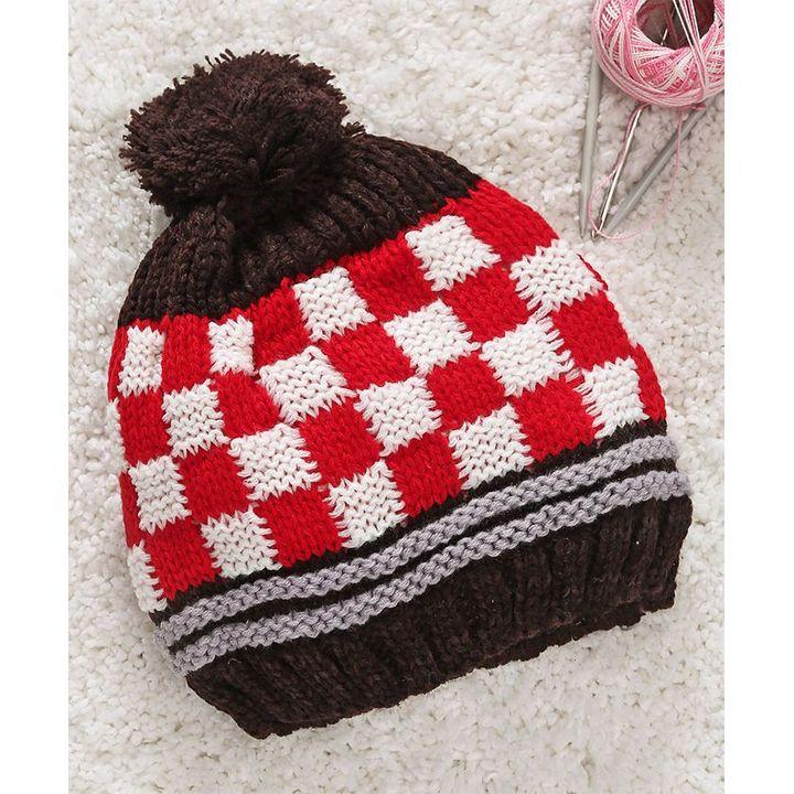 Babyhug Winter Wear Cap Checks Design Red Brown Online in India 062e1b121d3