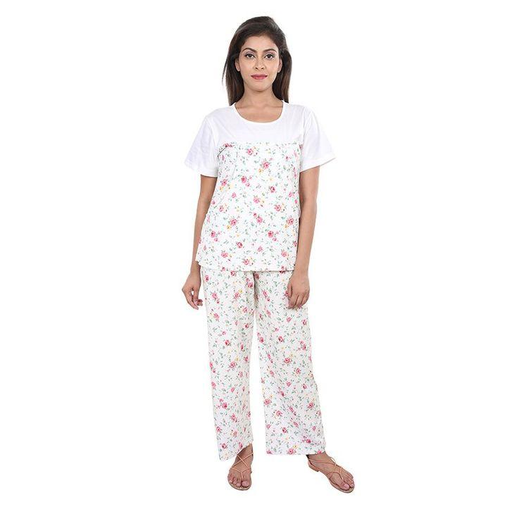 9teenAGAIN Floral Print Nursing Night Suit Set White Online in India ... d30f88bc1
