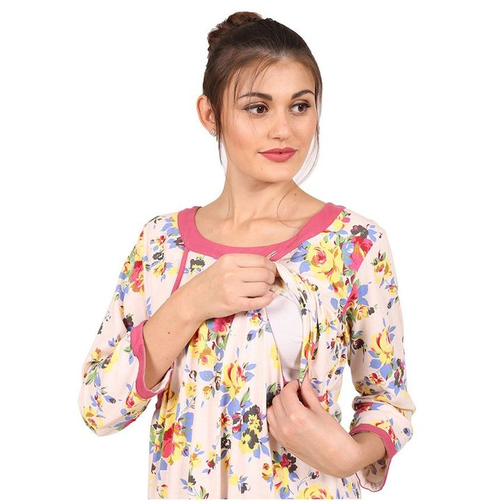 cc12e64dd4 9teenAGAIN Floral Print Three Fourth Sleeves Nursing Nighty Pink Online in  India