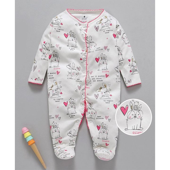 8c99d1f86 Buy First Smile Full Sleeves Footed Romper Bunny Print White Pink ...