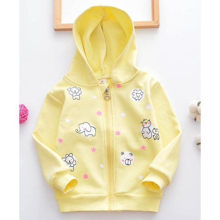 Pre Order - Lil Mantra Elephant Bear Printed Full Sleeves Hooded Jacket -  Yellow +info