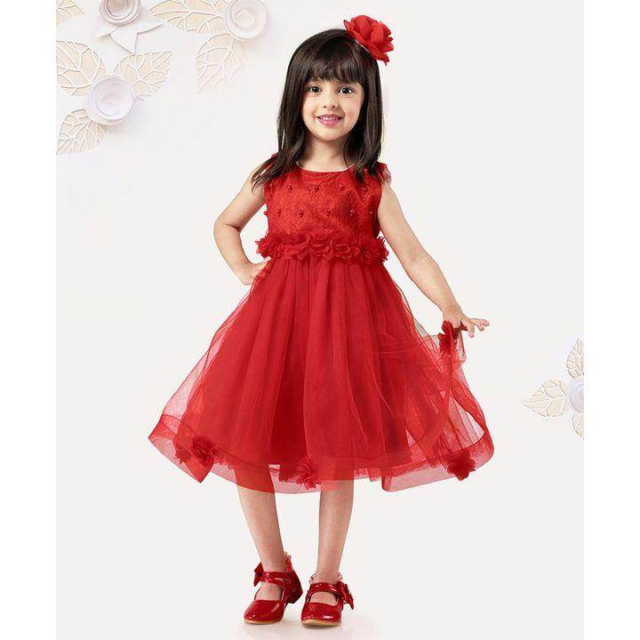 65fe771f8 Buy Mark   Mia Sleeveless Frock Pearl Design Red for Girls (4-5 ...