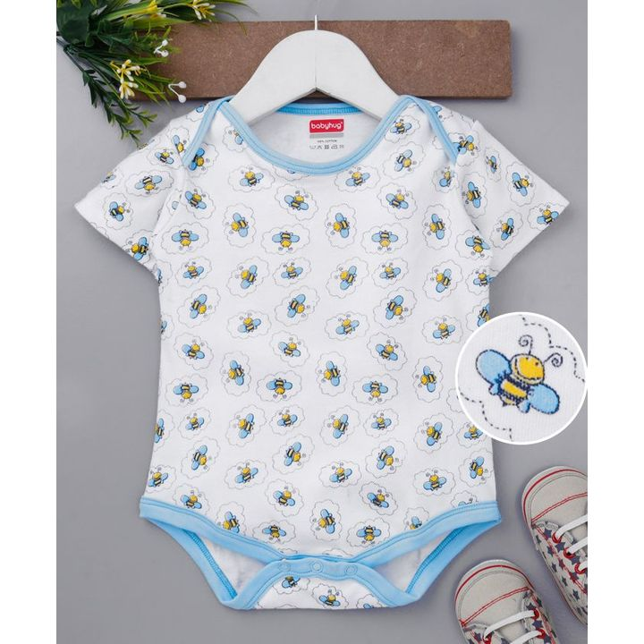 a7c195d8b Buy Babyhug Organic Cotton Half Sleeves Romper Butterfly Print White ...