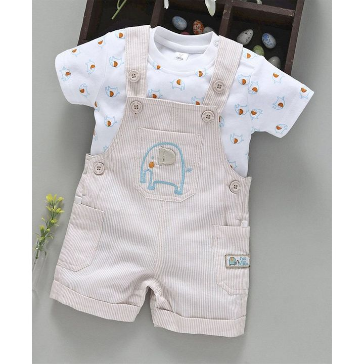 d80fb4c4b8b9 Buy ToffyHouse Striped Dungaree Romper   Tee Elephant Embroidered Light Fawn  for Boys (9-12 Months) Online in India