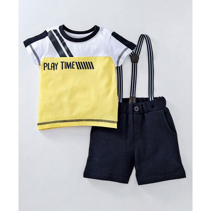0fc3fc2099f5 Buy Babyoye Half Sleeves Tshirt   Shorts Set With Suspenders Yellow ...