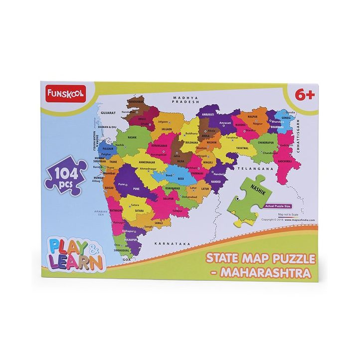 Funskool State Map Jigsaw Puzzle Maharashtra Multicolor 104 Pieces