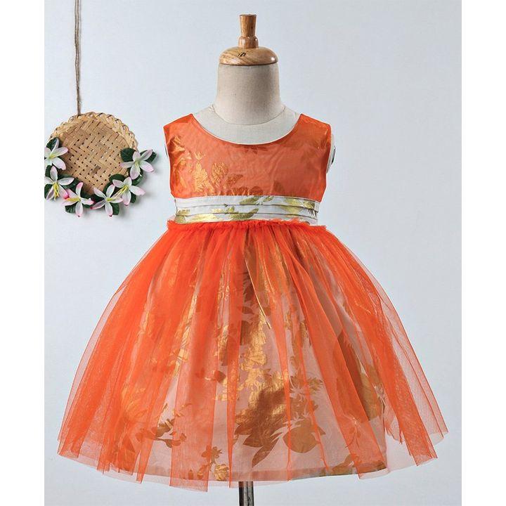 bcfa3e0b6 Buy Many Frocks   Floral Print Sleeveless Net Dress Orange for Girls ...