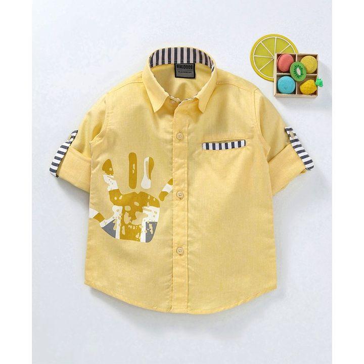 8052b9632b7bda Buy Rikidoos Full Sleeves Palm Print Shirt Light Yellow for Boys (2-3  Years) Online in India