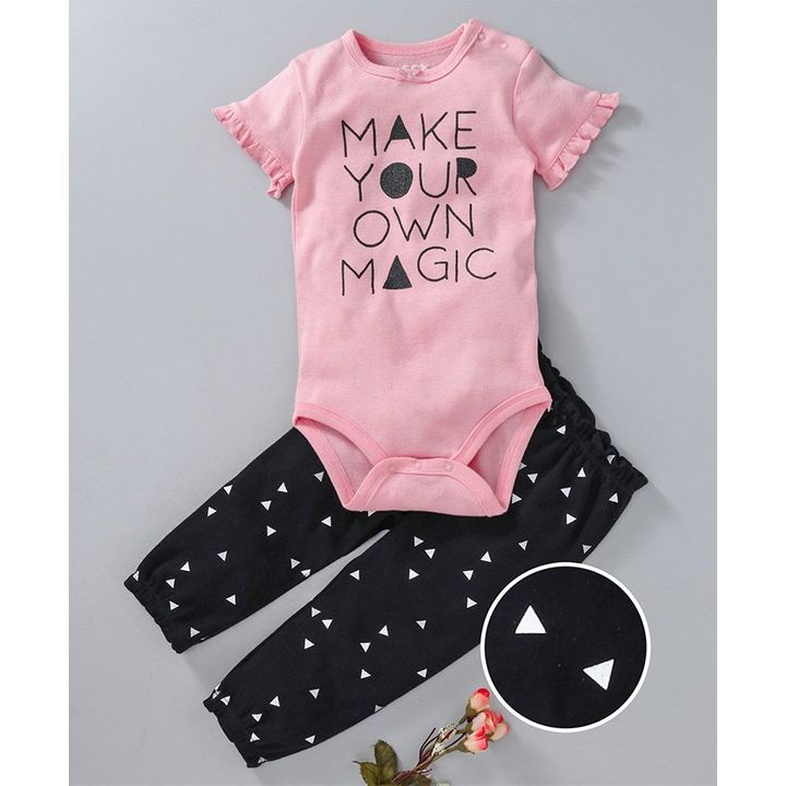 a9119488b Buy Fox Baby Short Sleeves Onesie And Leggings Text Print Pink Black ...