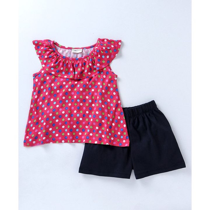 d1957e9e6eef2f Buy Crayonflakes Polka Dot Print Sleeveless Top   Shorts Set Pink for Girls  (6-7 Years) Online in India