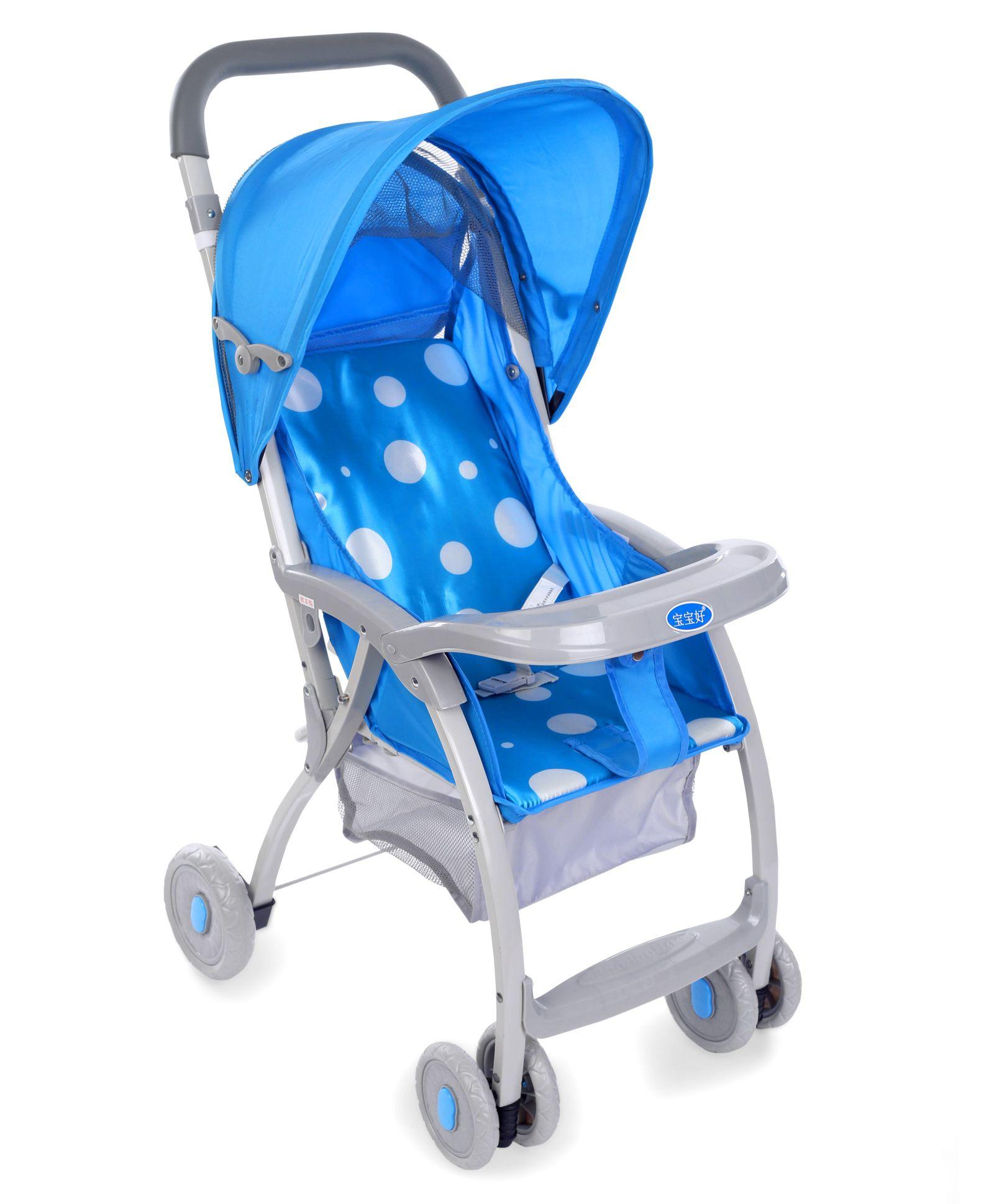 Baby Polka Dot Print Pram Cum Stroller - Blue
