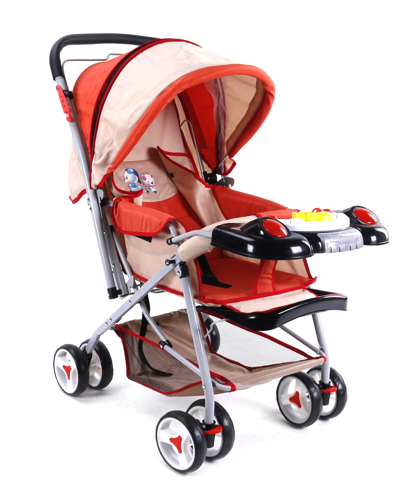 Baby Musical Stroller - Red And Dark Cream