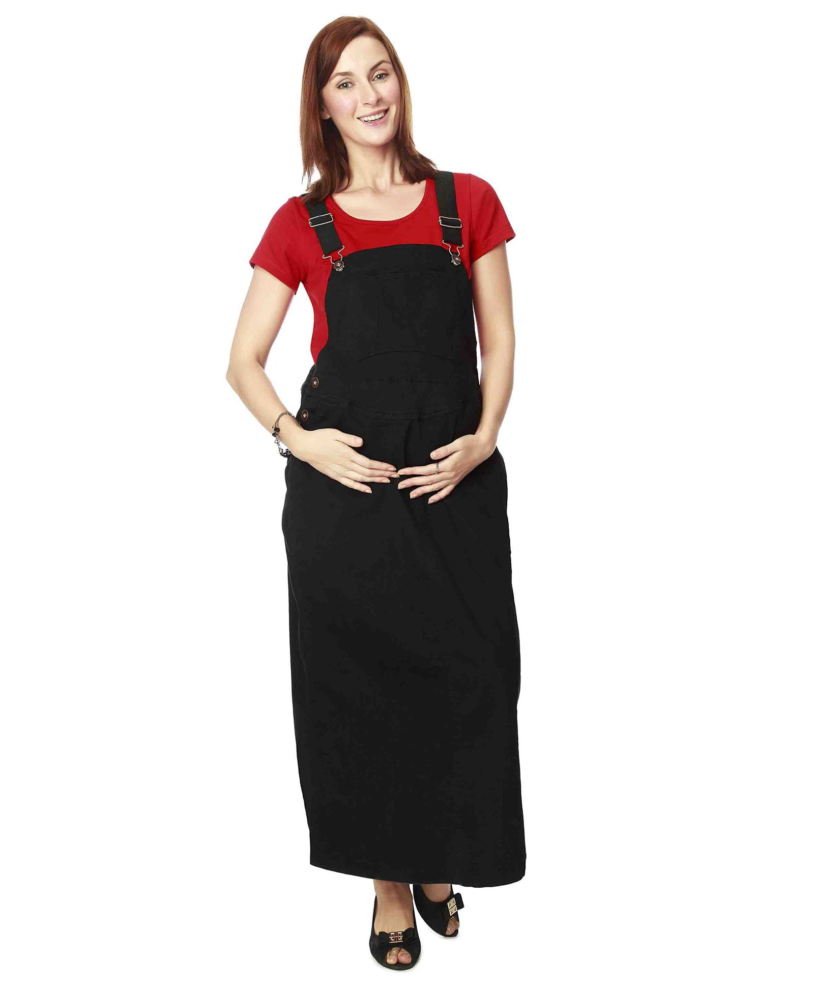 Nine full length maternity pinafore dress black online in india roll over image to zoom ombrellifo Choice Image