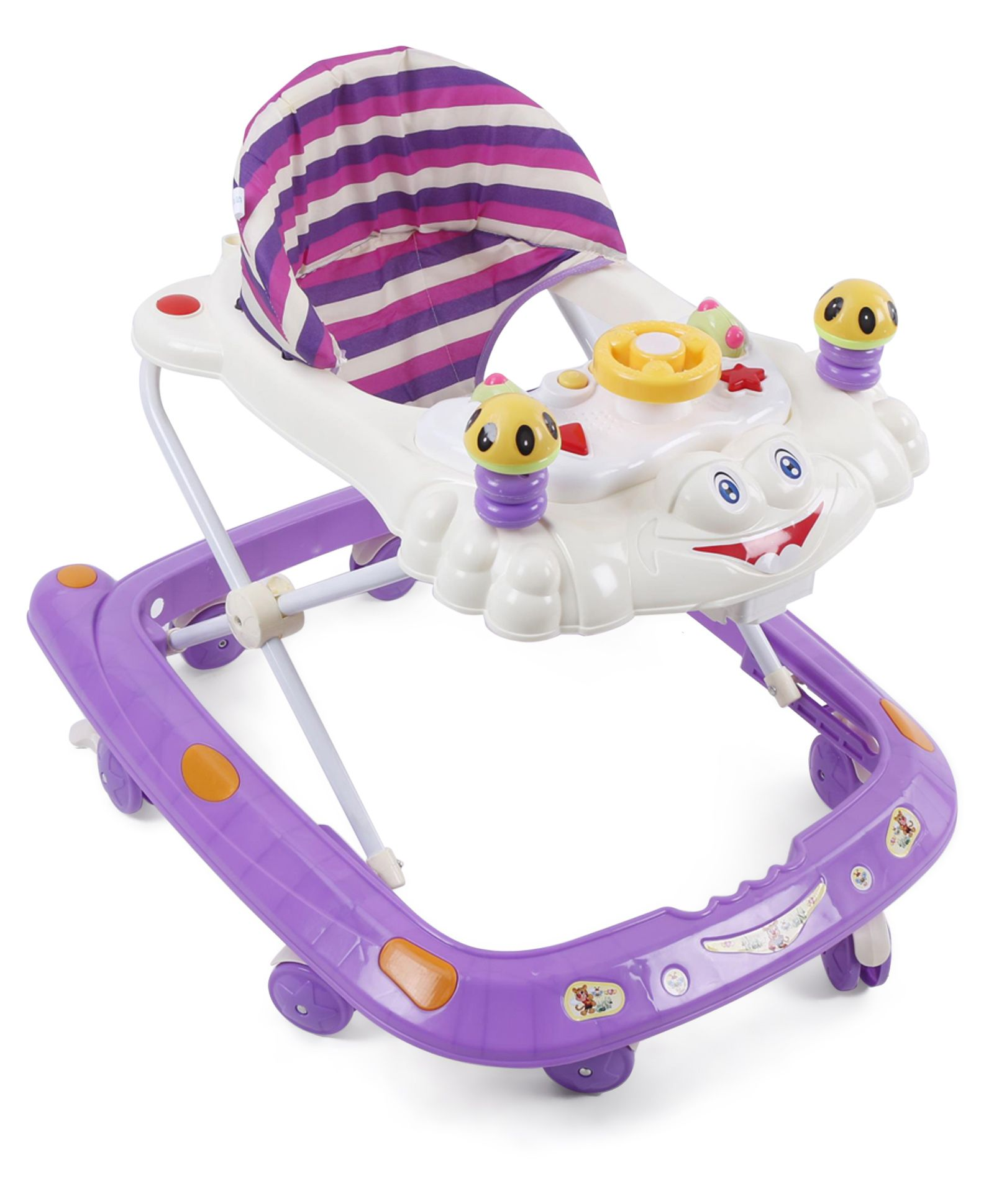 Baby Musical Walker With Cushioned Seat - Purple Cream