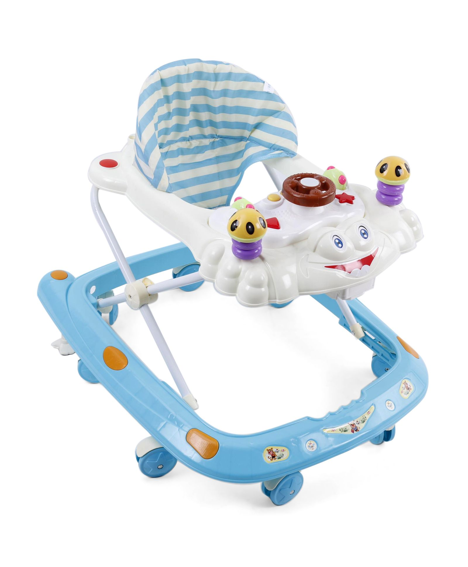 Baby Musical Walker With Cushioned Seat - Sky Blue Cream