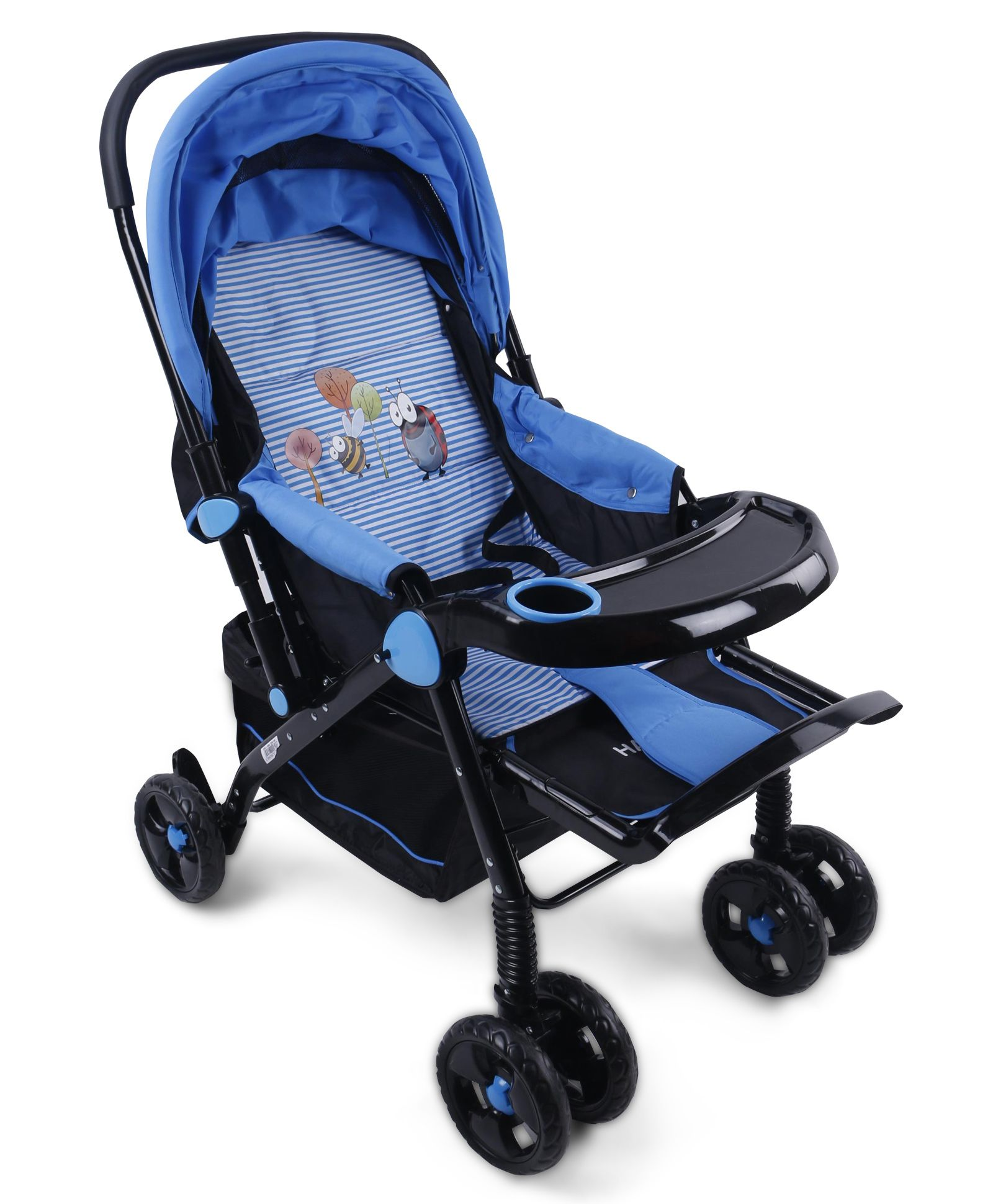 Baby Multi Print Stroller - Black Blue