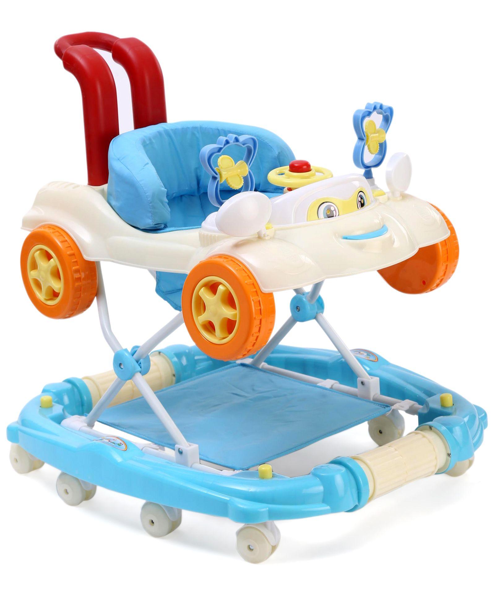 Baby Car Design Musical Walker - Blue White