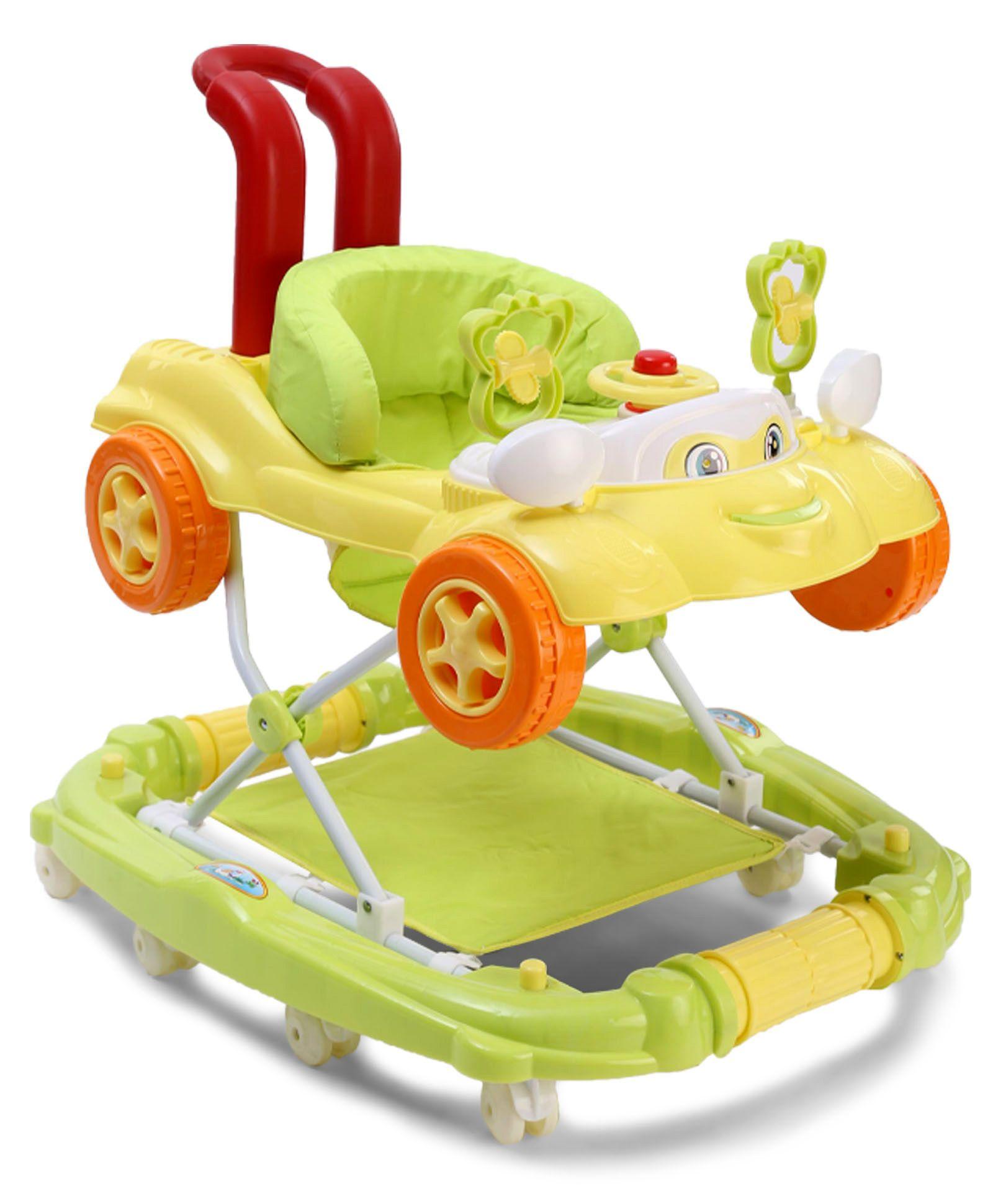 Baby Car Design Musical Walker - Green Yellow
