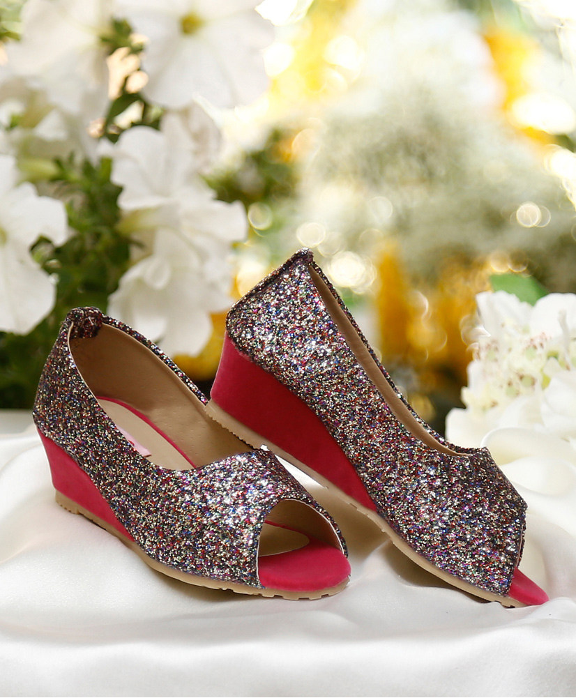 Upto 10% Off On Fashionable Feet By Firstcry   D'chica Blingy Wedge Heel Peep Toes For Girls - Multicolour @ Rs.629.10