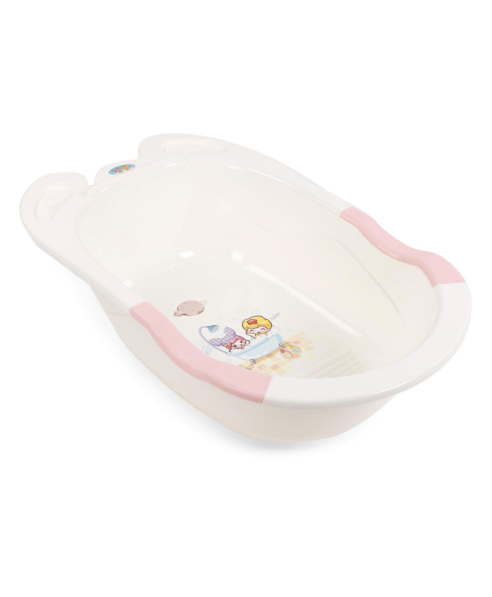 Baby Bath Tub With Print - Cream Blue
