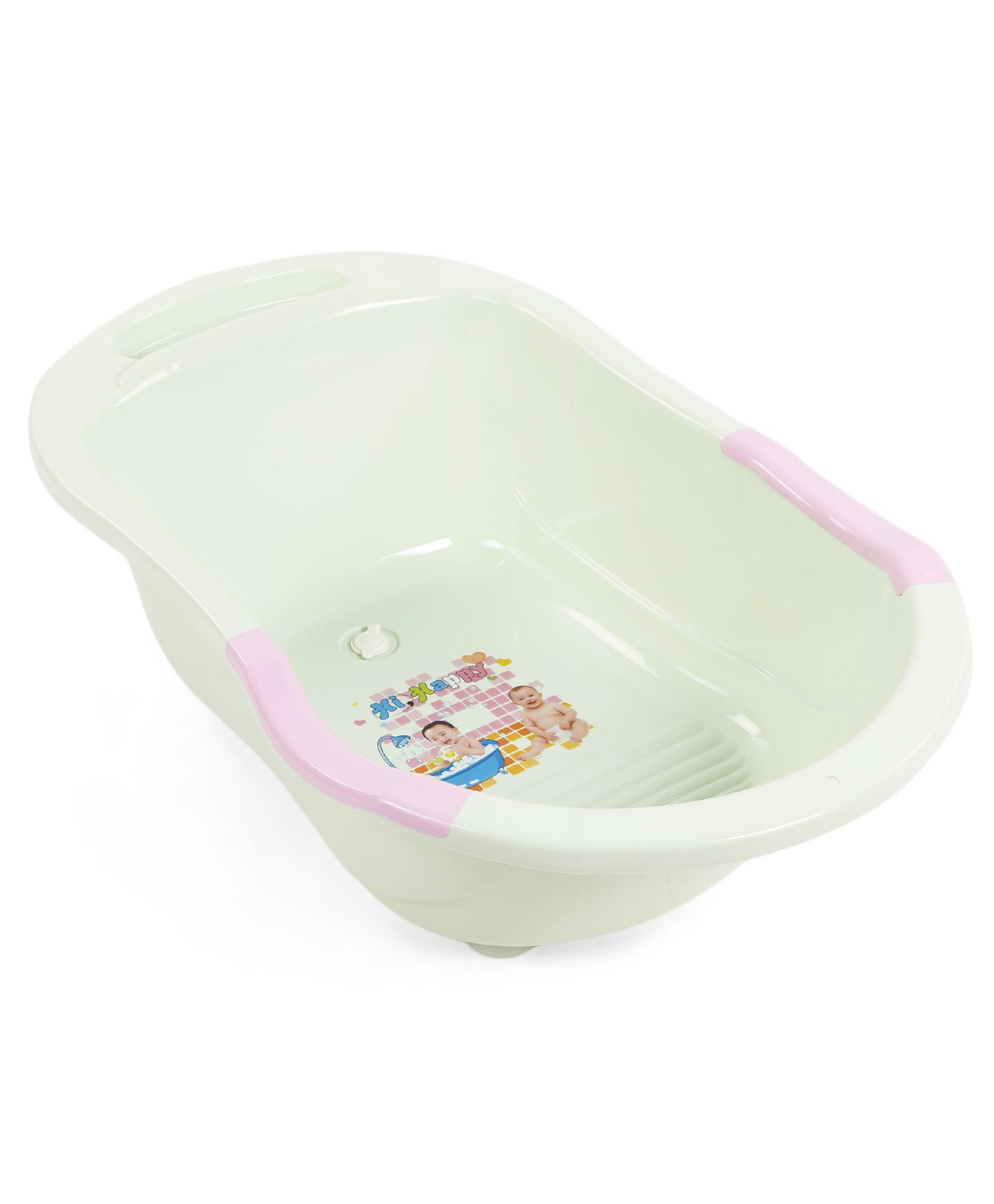 Baby Bathtub With Print - Off White & Pink