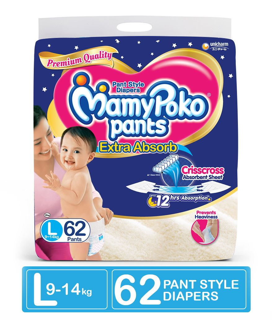 Mamypoko Extra Absorb Pant Style Diapers Large 62 Pieces Online In Pants Soft Xl 30 Girls Select Size