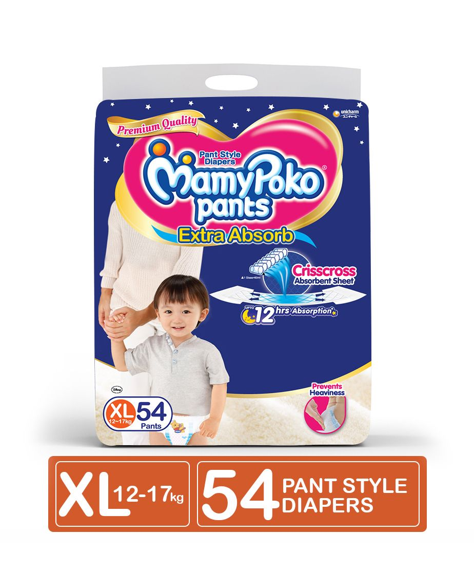 Mamypoko Extra Absorb Pant Style Diapers Large 54 Pieces Soft Boys Xl 24 Select Size
