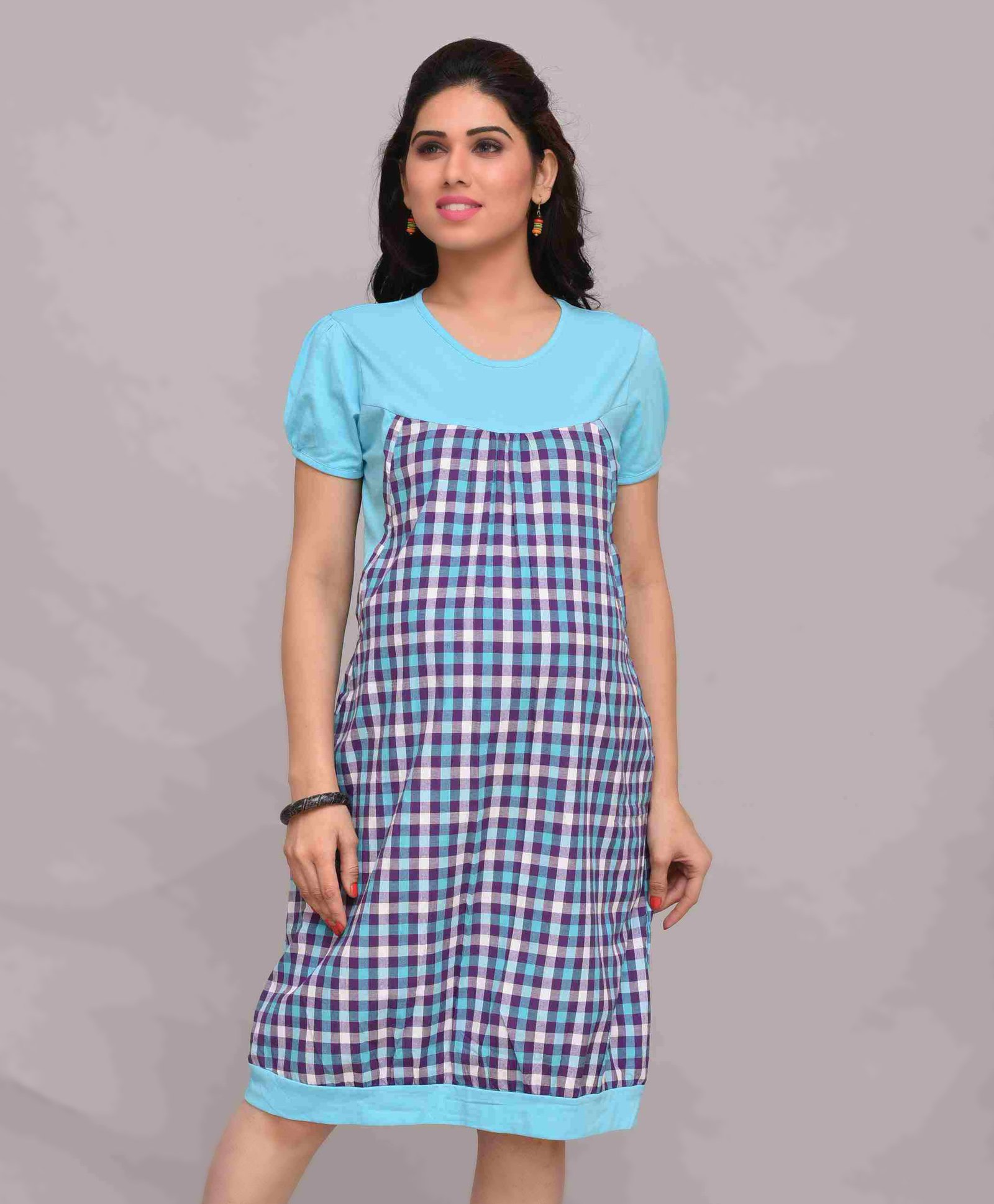 Mama bebe maternity pinafore dress checks pattern blue online in roll over image to zoom ombrellifo Choice Image
