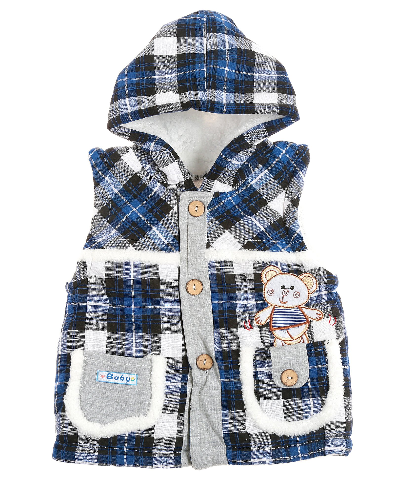 c14cc78cc Buy Zonko Style Checkered Hooded Baby Jacket Blue for Both (2-3 ...