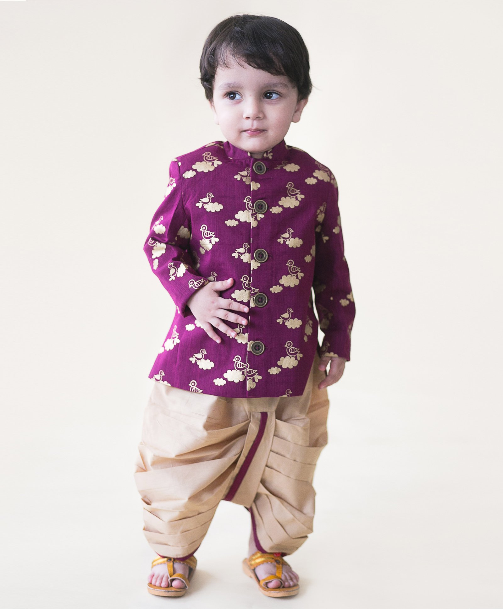 Buy Tiber Taber Bird Infant Bandhgala Dhoti Set Purple for Boys 0 3