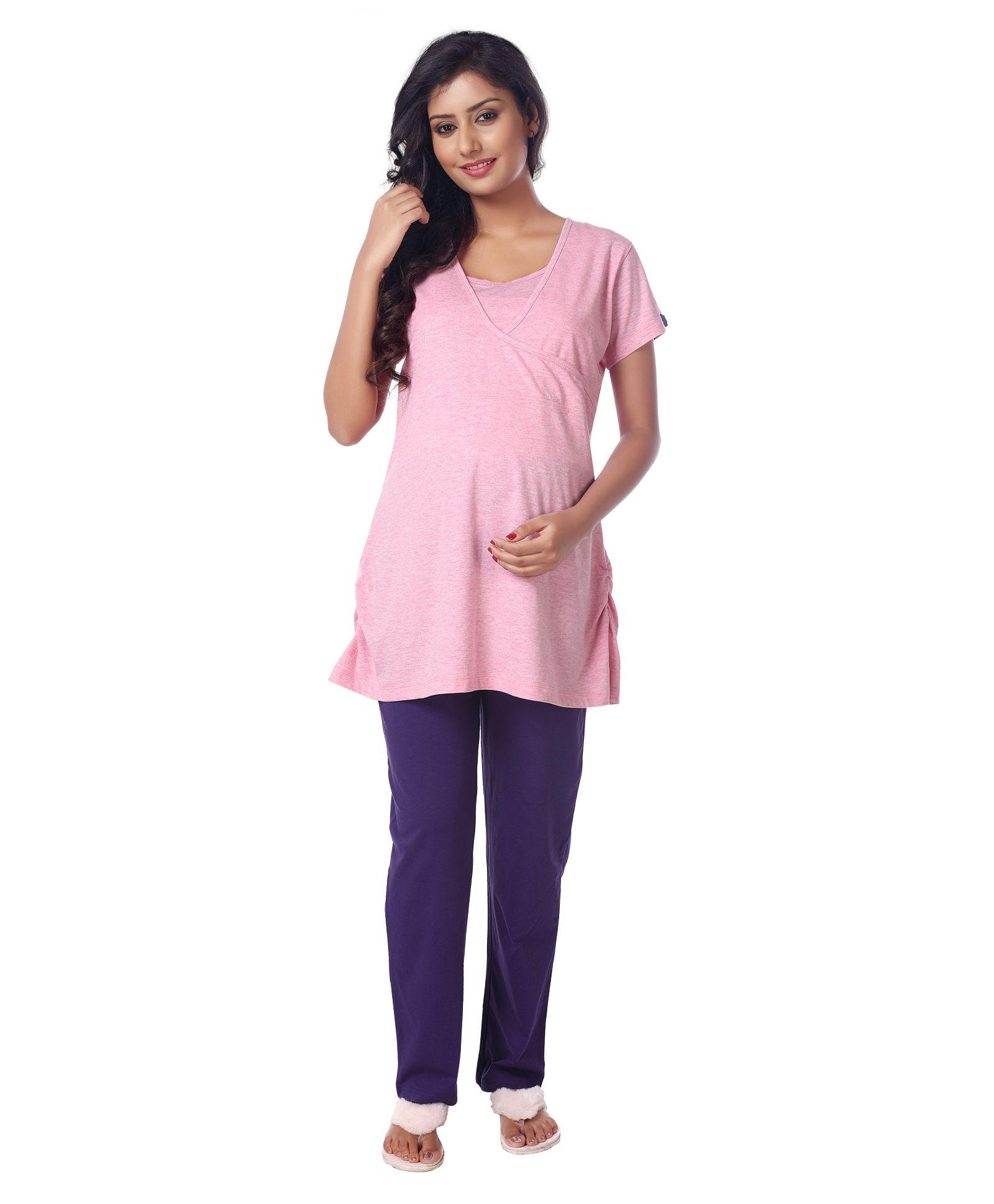 Kriti Half Sleeves Nursing Night Suit Set Pink Online in India 914e95801