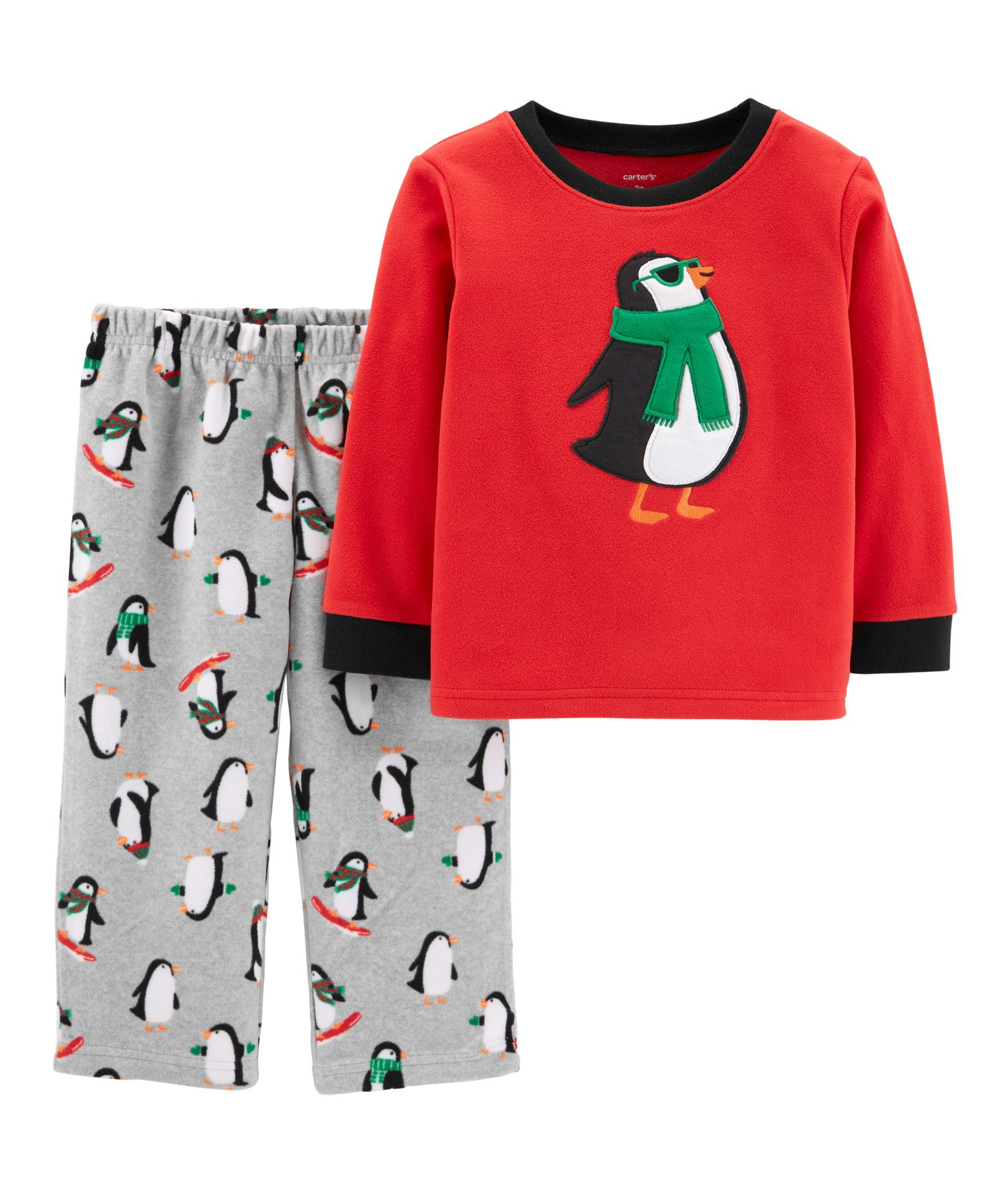 bdffb5ca2801 Buy Carters 2Piece Penguin Fleece PJs Red Grey for Boys (9-12 ...