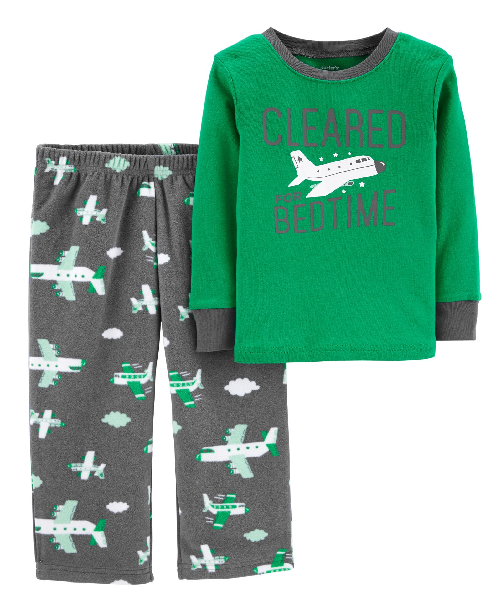 2b06e6f01 Carter s 2-Piece Airplane Cotton   Fleece PJs - Dark Green