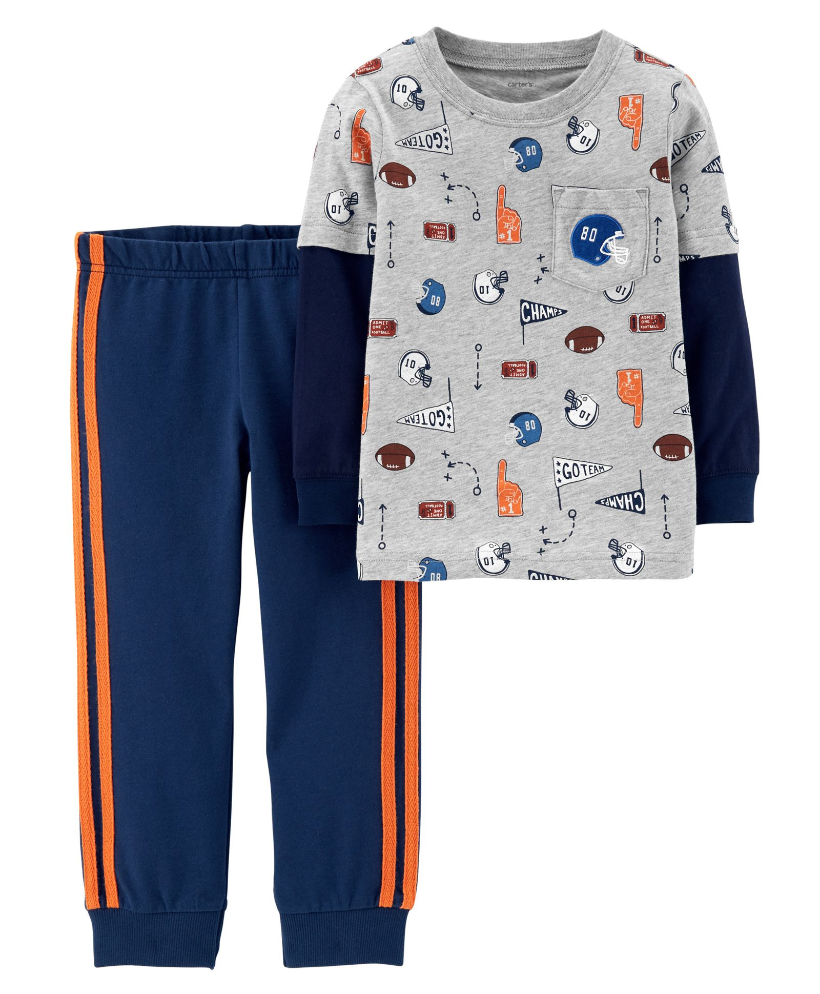 7b1aaa734 Carter s 2 Piece Layered Look Sports Tee   French Terry Jogger Set
