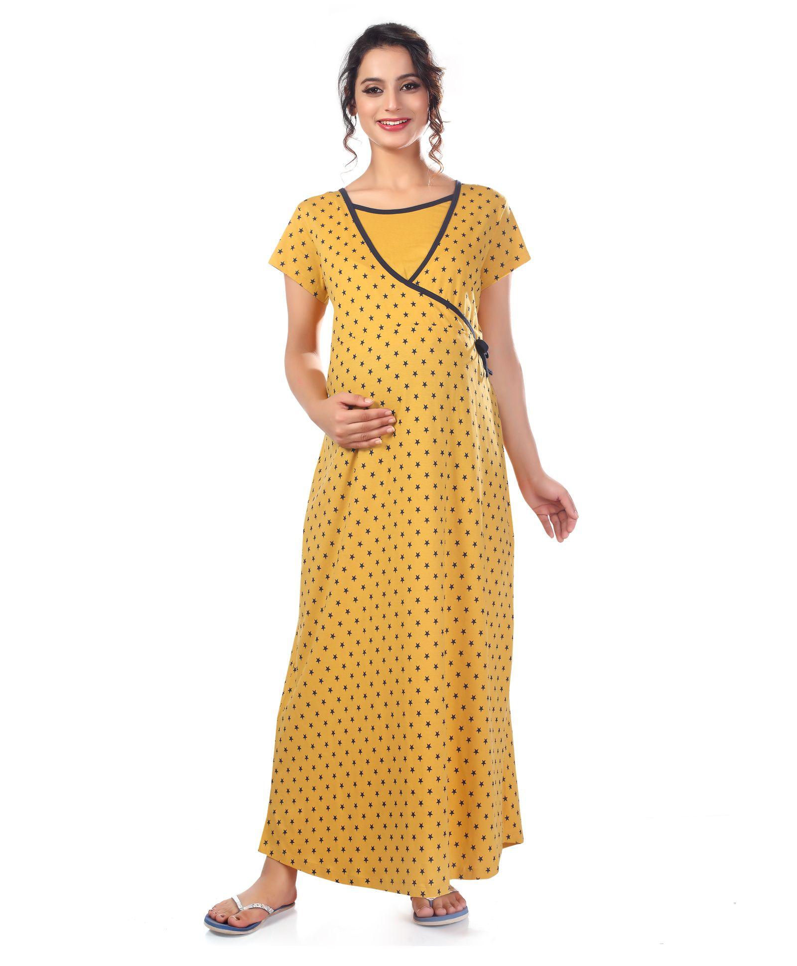 Kriti Short Sleeves Maternity Nursing Nighty Stars Print - Mustard Yellow 934163a15