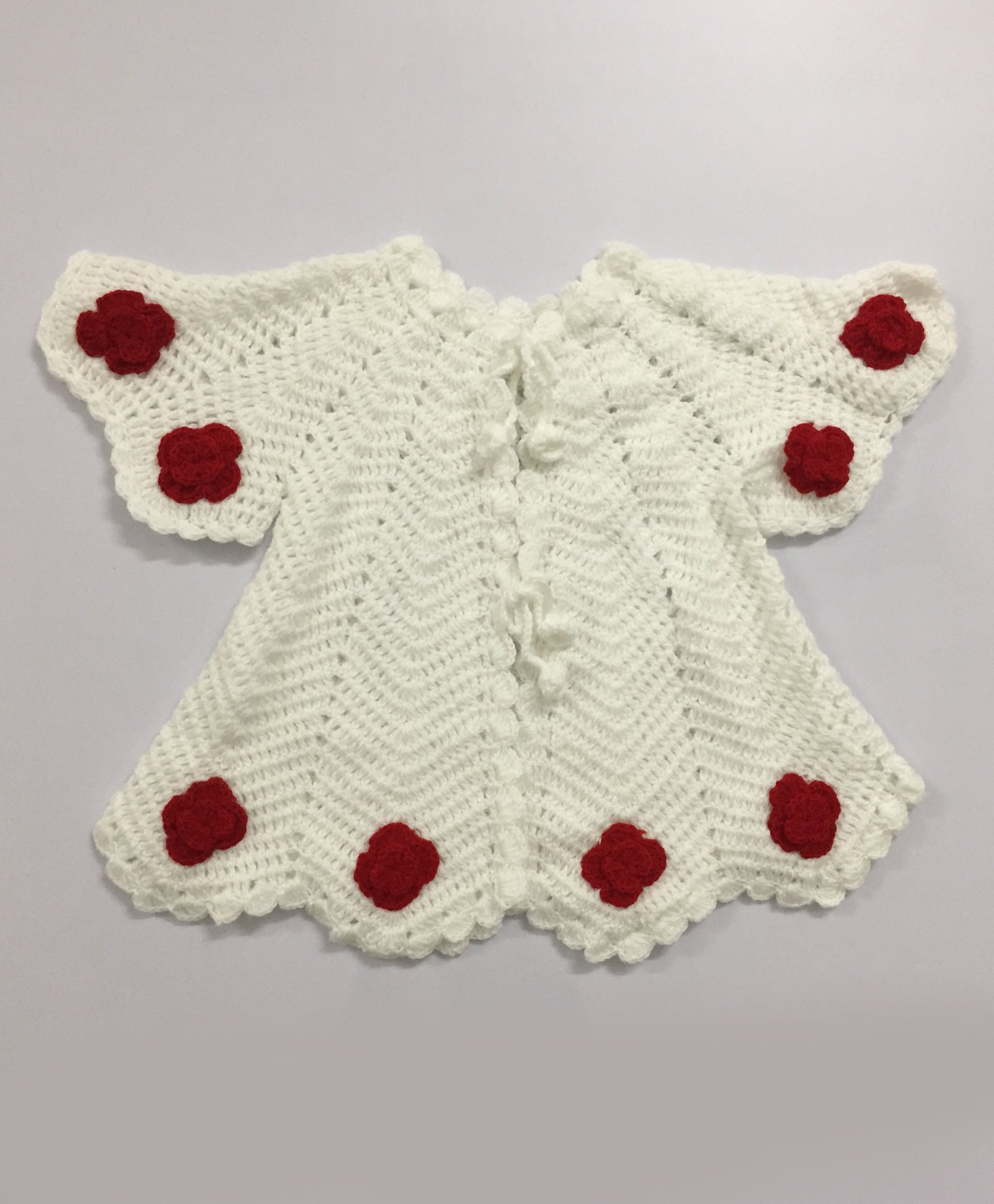 Buy Knit Masters Flower Applique Shrug White for Girls (3-4 Years ...