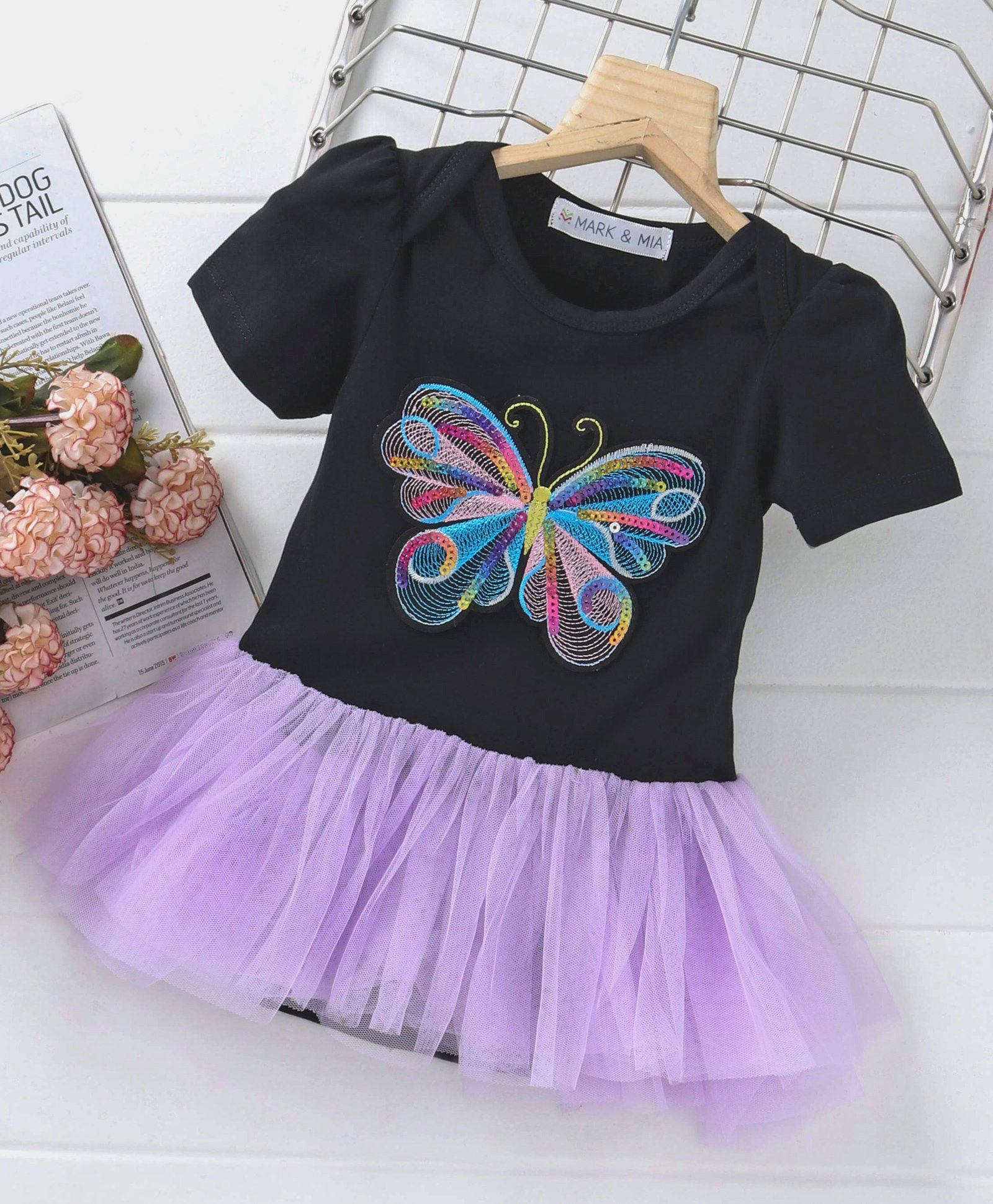 Mark   Mia Party Wear Short Sleeves Frock Style Onesie Butterfly  Embroidered - Black Purple 52c1946731d