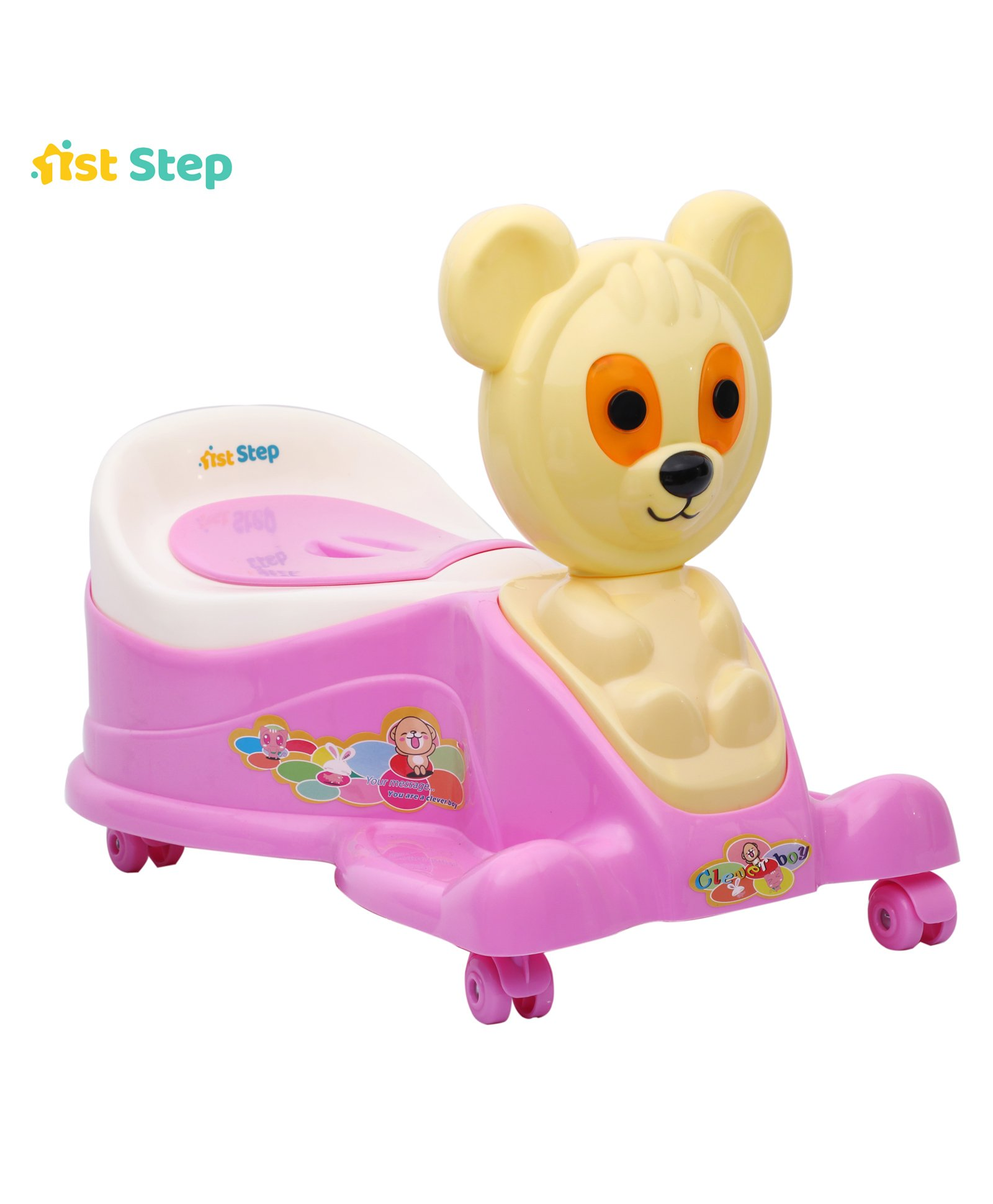 1st Step Pink Musical Potty Seat With Wheels - Animal Pattern