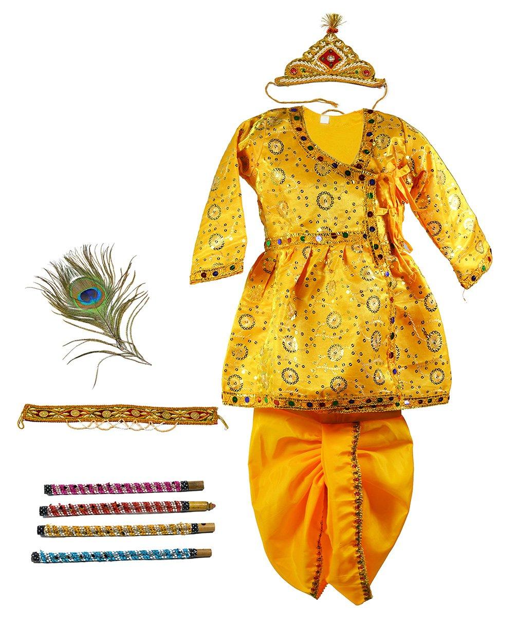 Little Krishna Themed Krishna Costume Set With Accessories , Yellow